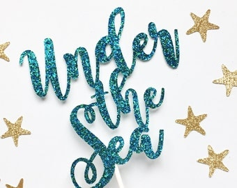 Under The Sea Cake Topper | Mermaid Topper | Under The Sea Party Decor | Ocean Cake | Mermaid Party Decorations | Glitter Cake Toppers