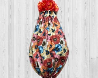 Poppy decor, poppy wall decor, kitchen wall decor, poppy gift, grocery bag dispenser, kitchen storage, gift for her, bag organizer, poppies