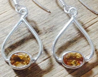 CITRINE DROP EARRINGS Sterling Silver