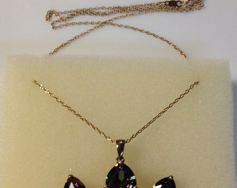 925 Sterling Silver Mystic Topaz Earrings and Pendant Set