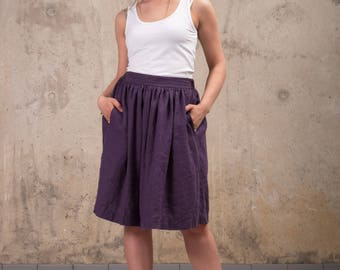 Womens Linen skirt - Washed linen Skirt - A line linen skirt - Midi linen skirt - High waist linen skirt - Natural linen skirt