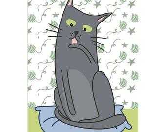 Crazy post card grey cat/cartolina cat Chartreux grey