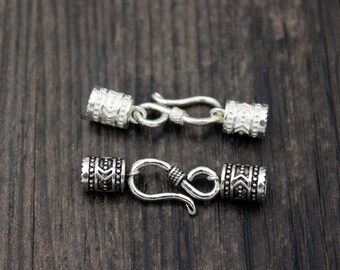 4.5mm Sterling Silver cord ends, Sterling Silver end caps, leather cord end cap,silver hook clasp for cord