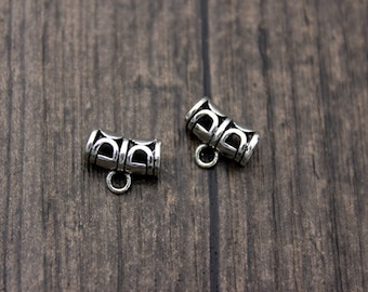 2 Sterling Silver Bails,Pendant Bails,Charm bails,hollow bail tube,tube bails,bail connector,charm holder bail,spacer bail charm,spacer bead