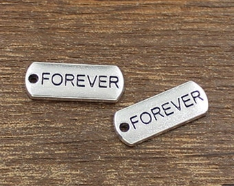 20pcs Forever Charm Antique Silver Tone 8x21mm - SH354