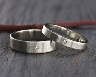 diamond silver wedding band set simple wedding rings his and hers wedding bands - Simple Wedding Ring