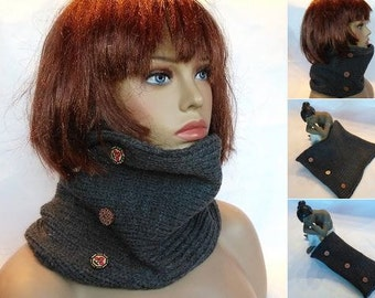 Scarf, neck gaiter, womens gift, birthday gift, Gray scarf, scarf ring, woman scarf, cowl scarf, neck wrap, knit scarf, scarves, anthracite