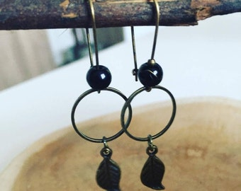 "Earrings connector ""circle & leaf"""