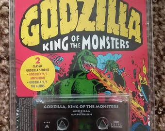un-opened Godzilla king of monsters 2 classic stories cassette//godzilla vs amphibion//godzilla vs the aliens//brand new//audio book