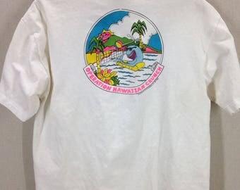 Vintage 80s Hawaiian Themed Shark Neon T-Shirt sz XL