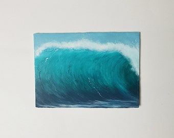 Wave Painting, Ocean Painting,  Seascape, Landscape, Beach, Seafoam, Blue, Green, Birthday Gift, Boho, Water, Home Decor, Acrylic, Gift Idea