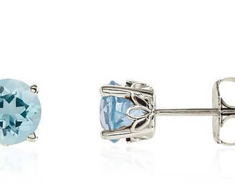 14K White Gold Genuine Blue Aquamarine Gemstone Stud Earrings - 1.25ct - 6mm Round - March Birthstone - AAAA Top Quality - Gift for Her