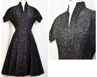 Black 50s Party Dress with Silver Metallic Thread