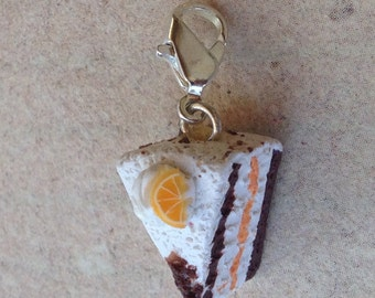 Orange-Cream Cake Charm, Necklace pendant
