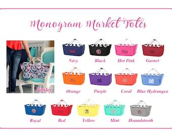 Monogram Market Tote, Monogram Dorm Tote,  Personalized Market Tote, Monogram Dorm Tote, Monogram Basket, Picnic Basket, Graduation Gift
