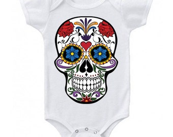 Sugar Skull Baby Clothes, Candy Skull, Skull Baby Clothes, Skull Clothing, Day of the Dead Baby Outfits, Pirate Baby Shower, Halloween Baby