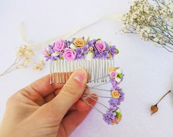 Wedding hair accessories Bridal floral hair comb Hairpin Floral jewelry Gift for her Wedding bride gift Polymer clay flower accessories