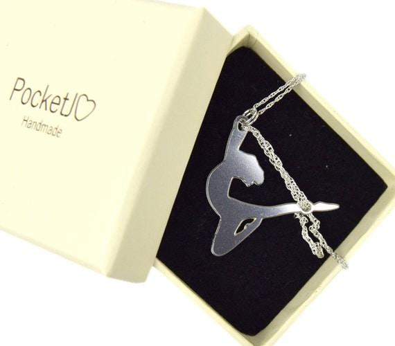 Aerial circus - aerialist - aerial silk pose metal pendant - shibari necklace - kinbaku necklace - Stainless Steel necklace