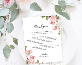Wedding Thank You Letter / Wedding Thank You Note, Printable Thank You, Wedding Thank You  - Pippa