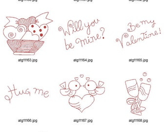 Redwork-Valentine-Fantasy. ( 10 Machine Embroidery Designs from ATW )