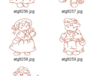 Olde-Time-Cows-Redwork-1   ( 5 Machine Embroidery Designs from ATW ) XYZ17D
