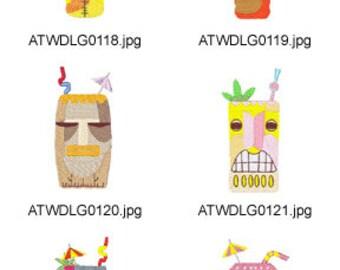 Tiki-Drinks  ( 10 Machine Embroidery Designs from ATW ) XYZ17E