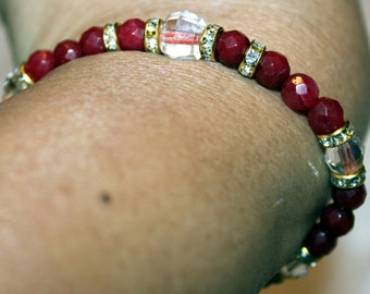 Ruby & Crystal beaded bracelet with tassels; handmade, shamballa, beautiful, Red and white, colorful