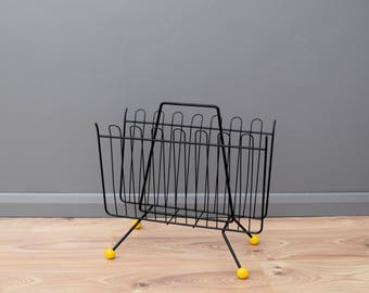 Atomic Mid-Century Wire Magazine Rack in Black and Yellow Sputnik 1950s 1960s