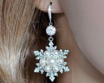 Handmade Vintage Inspired Pearl, CZ and Crystal Rhinestone Snowflake Earrings, Bridal, Wedding (Pearl-762)