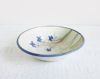vintage pottery bowl / large ceramic bowl / painted watercolor bowl with blue flowers