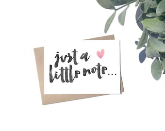 Just a Little Note... Card - Blank A6 Card - Thank You Cards - Notecards