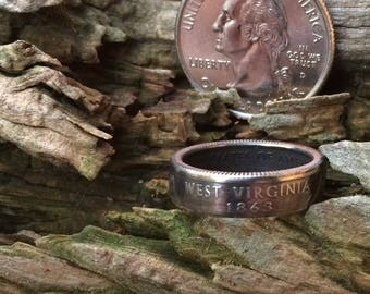 West Virginia state quarter coin ring