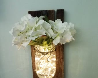 Barnwood Wall Decor, Wall Sconce with LED lights and silk flowers, Mason Jar Wall Sconce