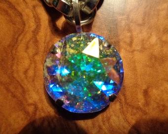 Necklace 50cm with beautiful Swarovski stone/90s/Silver metal/3cm