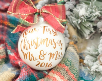 Our First Christmas as Mr and Mrs, Christmas ornament, Newlywed gift, Holiday, Christmas tree ornament, Christmas Married, Unique holiday