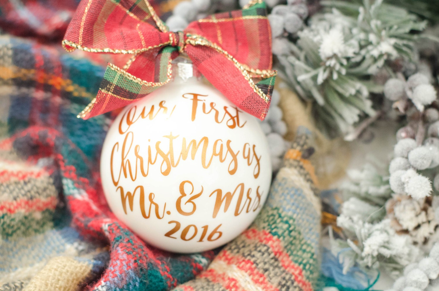 First married christmas ornament - Our First Christmas As Mr And Mrs Christmas Ornament Newlywed Gift Holiday