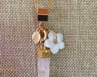 Handcrafted Gold Tone Frosted Quartz Spike Lucite Flower Leaf Necklace