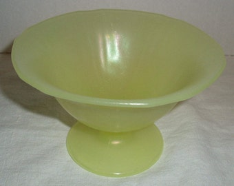 Canary Yellow Glass Pedestal Bowl.  Vaseline.  Tiffin?