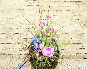 Rustic Silk Flower Arrangement, Floral Arrangements, Silk Table Centerpiece, Floral Home Accent, Floral Home Decor, Artificial Flowers A118