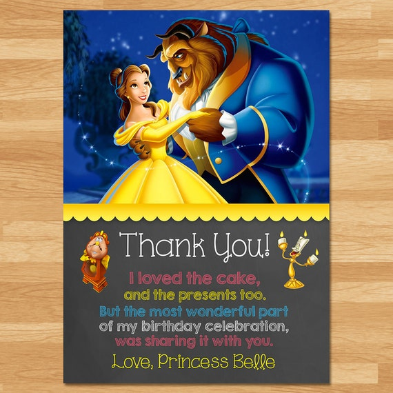Beauty and the Beast Thank You Card - Chalkboard - Belle Thanks - Disney Princess Thank You - Princess Birthday - Beauty & the Beast Favors