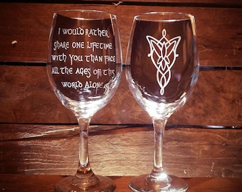 Lord of the Rings Wedding Wine Glasses // FREE Personalization // LOTR // Anniversary Gift // Wedding Gift // Engraved Tolkien Glassware