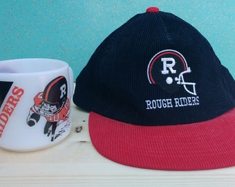 Vintage 80's Cord Cap Ottawa Rough Riders Corduroy Snapback Trucker Cap - and Bonus Coffee Mug!