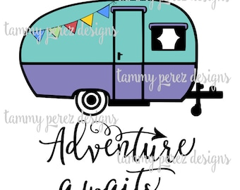 Happy Camper Adventure Awaits Campfire Camping SVG DXF File - Digital File for Craft Cutting
