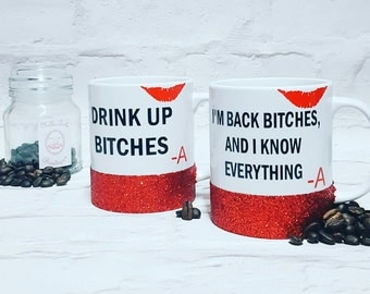 Pretty Little Liars inspired Mug, PLL Mug, Glitter Mug, Glitter coffee cup