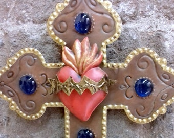LOVE Sacret heart blue glass copper and gold tin decorative cross wall decor vintage look hand made by metal worker Mexican artist