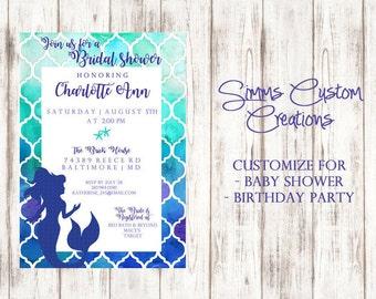Mermaid Bridal/Baby Shower Invitation