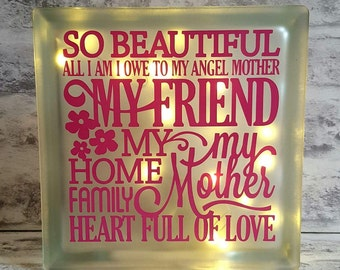 Mothers Day Glass Block Light