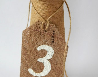 Burlap Table Number Tags, Flowers Escort Card, Rustic Barn Bridal Shower, Custom White Tag, Mason Jar Hanging String Flag,