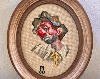 Clown Needlepoint, Sad Clown, Vintage Needle Point, Vintage Needlepoint, Sad Eyes, Needlepoint Art, Wall Art, Nursery Clown, Vintage Framed
