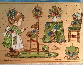 Simplex Toys Made In Holland Puzzle Sarah Kay Vintage Toy Puzzle,Wooden Puzzle,Nursery Puzzle,Nursery Rhyme Puzzle,Peg Puzzle,Tray Puzzle